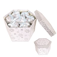 Christmas Gift Box Baubles Silver 14 pieces