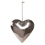 Hammered Effect Hanging Heart 20cm