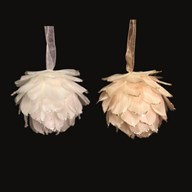 Hanging Feather Ball 9cm 2 Assorted