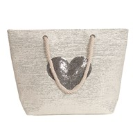 Heart Beach Bag Silver 38x40cm