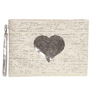 Heart Cosmetic Bag Silver 20x28cm