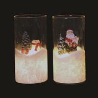 LED Christmas Glass Cylinder 15cm 3 Assorted