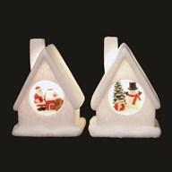 LED Christmas House 16cm 2 Assorted