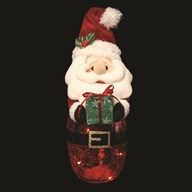 LED Crackle Santa 24cm