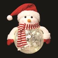 LED Crackle Snowman 16cm