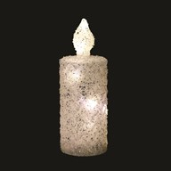 LED Glitter Candle Silver 20cm