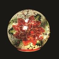 LED Poinsettia Crackle Ball 13cm
