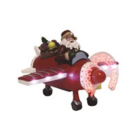 LED Santa In Plane 14.5cm
