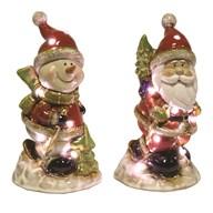 LED Santa / Snowman 22cm 2 Assorted