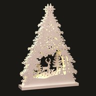 LED Tree & Stag 26x36cm