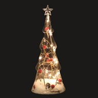 LED Berry Christmas Tree White (15 lights) 28cm
