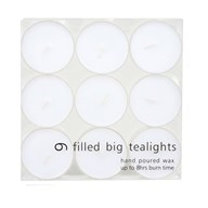 Maxi Tealights White Pack of 9
