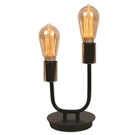 Black Twin Arm Table Lamp with Filament Bulb 25cm