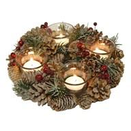 Natural Wreath 4 Tealight Holder 25cm