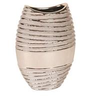 Oval Ribbed Silver Vase 24cm