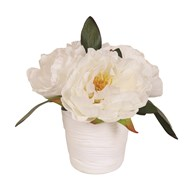 Peony Decorative Pot White 18cm