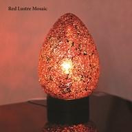 Red Lustre Mosaic Egg Lamp 25cm