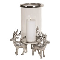 Reindeer Pillar Holder 35.5cm