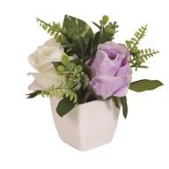 Rose Decorative Pot White & Purple 20cm