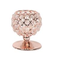 Rose Gold Crystal Tea-Light Holder 13cm
