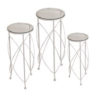 Glass Top Plant Stands White Set of 3 70/60/50cm