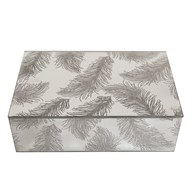 Silver Glass Feather Jewellery Box 20cm