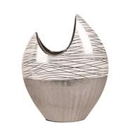 Silver Glitter Crescent Vase 30cm