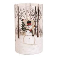 Snowman Pillar Holder 25cm