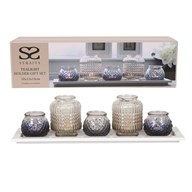 Tea Light Gift Set Wooden Tray  50x12cm
