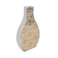 White & Gold Decal Square Neck Vase  30cm