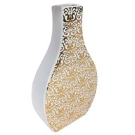 White & Gold Decal Square Neck Vase  42cm