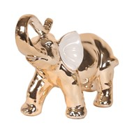 White Gold Trunk Up Elephant 20cm