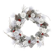 White &  Red Wreath 43cm