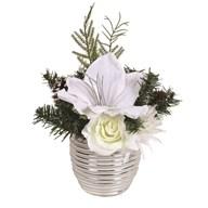 White Floral Arrangement Ceramic Pot