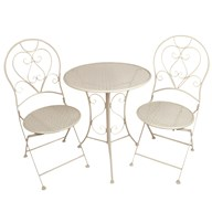 White Bistro Set Flower Design