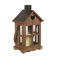 Wooden House Lantern 33.5cm