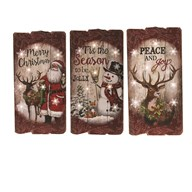 Wooden LED Xmas Plaque 3 Assorted