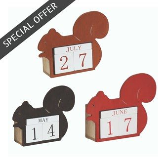 Squirrel Calendar 15cm 3 Assorted