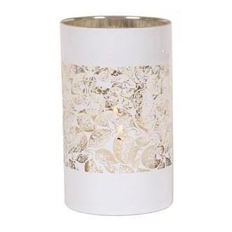 White/Gold Leaves Pillar Holder 20cm