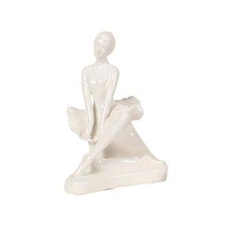 White Ceramic Ballerina Sitting  Statue 18cm