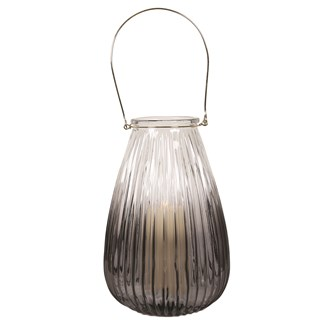 Ribbed Grey Pillar Lantern 34cm