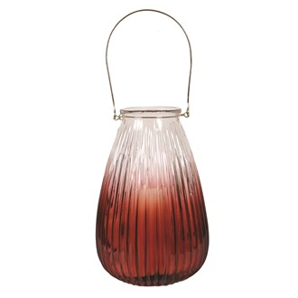 Ribbed Red Pillar Lantern 34cm