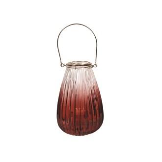Ribbed Red Tealight Lantern 22cm
