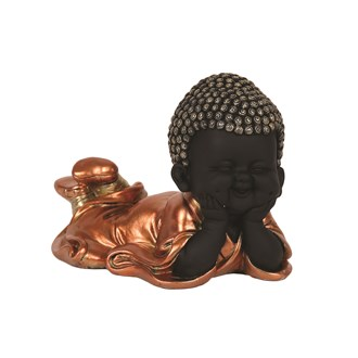 Copper & Black Laying Buddha 13cm
