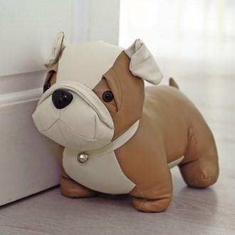 Brown Leather Look Dog Doorstop 20cm