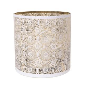 White Spiral Pillar Holder with Gold Inner 30cm