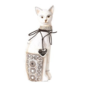 Decorative White Cat 32cm