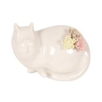 Porcelain White Cat with Flowers 13cm