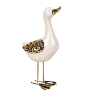 White & Gold Standing Duck 27cm