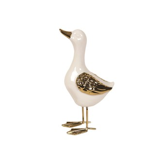 White & Gold Standing Duck 20cm